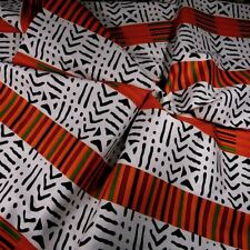 Mixed Wax Dyed African Kente & Mud Cloth Fabric, Cream, Orange & Blue, Mali