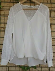 Forever New White Chiffon/Lace Long Sleeve Cross Over Blouse Size 12