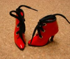 Doll Shoes Monique 50mm RED PATENT Lace up Boots for Ellowyne