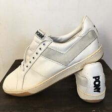 Vtg NOS PONY Low Top 1980 sz 11.5 RARE White Leather Basketball Shoes Deadstock