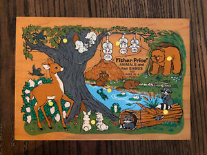 Vintage Fisher Price Peg Wooden Puzzle Animals and their Babies 523