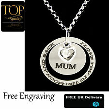 Ring Disc Pendant Personalised Engraved Name Necklace Silver Plated Gift Heart