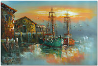 Landscape with Harbor Boats - Hand Painted Impressionist Oil Painting On Canvas