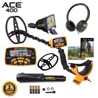 Garrett ACE 400 Metal Detector, Pro Pointer II Pinpointer, Coil, and Accessories