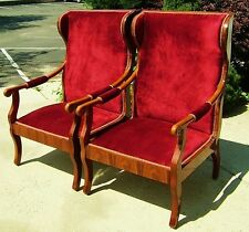 FINEST pair Biedermeier style wing chairs