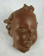 Vintage W Goebel Terracotta Childs Head Mask Wall Hanging Decor Brown 1957