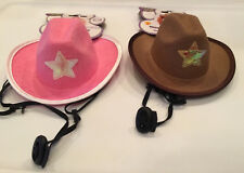 Pet Cowboy Hat Western Wear Rubie's Pet Shop S/M Star Bungee Strap Pink Brown