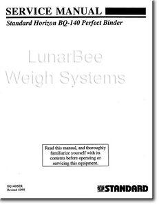 Standard Horizon BQ-140 Perfect Binder Parts and Service Manual Set