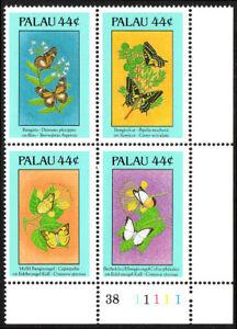 Palau 183-186a Bl/4, MNH. Butterflies and Flowers, 1988