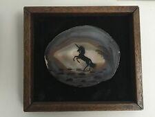 ART Deco Antico dipinto ad olio su agata pietra minerale VECCHIO Unicorno foto