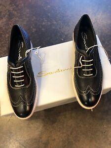 Santoni Black And White Leather Lace Up  37