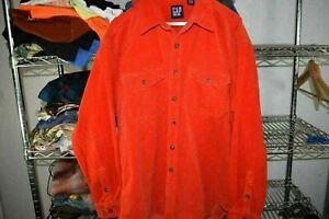 Gap vtg 90s Reddish Orange Heavy Button Up Corduroy Surfer Shirt Men's XL