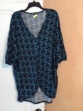 New Hot Ginger - Teal/black Geometric Print Knit Women Open Top Plus Size 1X