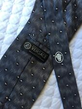 Versace Classic V2 Dark Metal Gray & White Print Silk Neck Tie Mint!
