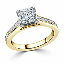 1.75Ct Princess Diamond Engagement Ring 14k Solid Yellow Gold Rings Size M N 1/2