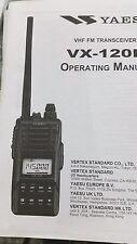 MANUALE IN INGLESE ORIGINALE  istruzioni d'uso per YAESU VX-120