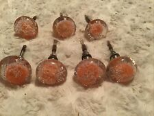 Lot Of 7 Orange Glass Bubble Cabinet Knob Dresser Decoration Retro Door Repair