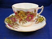ANTIQUE ROSINA TEA CUP AND SAUCER # 4999 A - PINK, BROWN AND YELLOW TONES