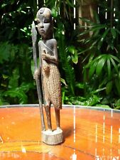 African Hand Carved Striped Ebony Wood Totem Tribal Hunter Africa