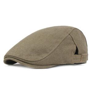 Men Classic Adjustable Beret Hats Solid Color Outdoor Newsboy Driving Golf Caps