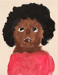 Alyne Harris Lady In Red Folk Black African Outsider Art Painting