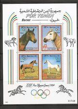 Yemen . Los angeles 1984- Equestrian-  Horses. Miniture sheet .MNH