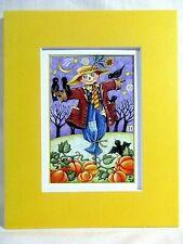 "New listing Mary Engelbreit Matted Calendar Print 8 X 10"" Autumn Scarecrow #124"