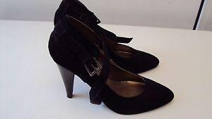 DOROTHY PERKINS Women's Black Faux Suede Strap Court Shoes  UK 6 / EU 39