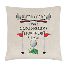 How to Play Golf Linen Cushion Cover Pillow - Funny Dad Father's Day Sport