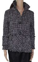 Damee Women's Coat Black Size 0X Plus Textured Tweed Metallic Fringe $168 #111