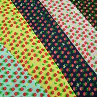 Floral Ditsy Flowers And Strawberries Polycotton Fabric