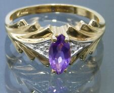 9CT AMETHYST DIAMOND RING MARQUISE 9 CARAT YELLOW GOLD  ENGAGEMENT SIZE N 1/2