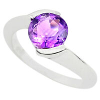 2.92cts Natural Purple Amethyst 925 Silver Solitaire Ring Size 5.5 P73442