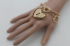 Women Bracelet Gold Metal Chain Bangle Brown Rhinestones Love Heart Key Lock Fun