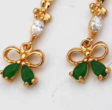 Gorgeous ~ 14k Gold Filled Plating - Emerald Gem Crystal ~ Tie Earrings eh-007