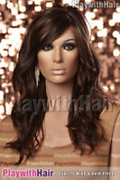 SO HOT! New Flowing Wavy Wig Skin Part Brown Red Swirl