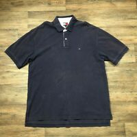 VTG Tommy Hilfiger Polo Navy Blue Flag Logo Men's Sz. XL J69