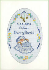 New Arrival card - complete cross stitch kit on 16 blue aida