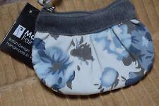 Manumit Commerce équitable zippée porte-monnaie lin fleuri bleu satin Doublure éthique