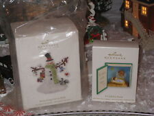 2 ornaments Hallmark 2010 Branching Out in Style Snowman & 2012 A CHILD IS BORN