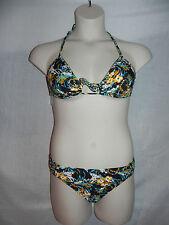Raisins Bikini 2pc Swimsuit Large Black Multi Magnolia Pant Pump it up Bra NWT
