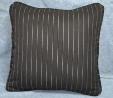 "Pillow made w Ralph Lauren Metropolitan Place Brown Cotton Pin Stripe 15"" NEW"