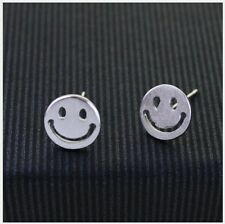 8mm 925 Sterling Silver Gold Smiley Happy Face Post Stud Earrings Gift Box K25A