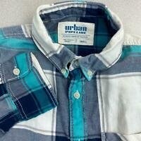 Urban Pipeline Button Up Shirt Mens S Blue Teal White Long Sleeve Cotton Plaid