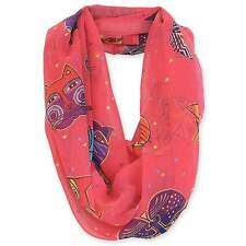"Laurel Burch-Cat Collage Fuchsia Feline Faces Artistic Infinity Scarf 19.5""x35"""