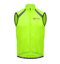 Hi Vis Cycling Vest Gilet With Stowaway Pouch - Reflective Tape - Size Small