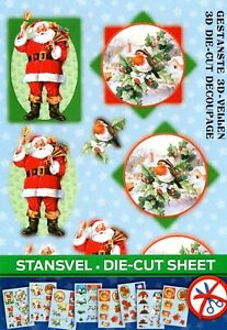 Christmas Themed A5 Die Cut Decoupage Sheets Pack of 8 Designs - Easy 29-36