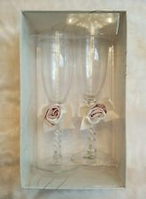 Lillian Rose Wedding Toasting Flutes Champagne Glasses Pink/Ivory Satin Rose NIB