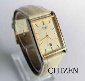 Retro rectangle Citizen 6010-S514170SMK quartz gold plated watch date