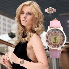 Retro Owl Design Leather Band Analog Alloy Quartz Wrist Watch Pink